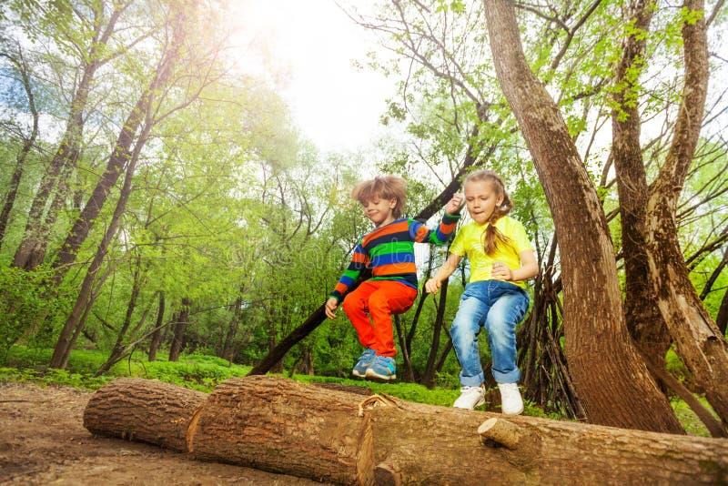 Niños felices que saltan sobre un inicio de sesión el bosque del verano foto de archivo libre de regalías