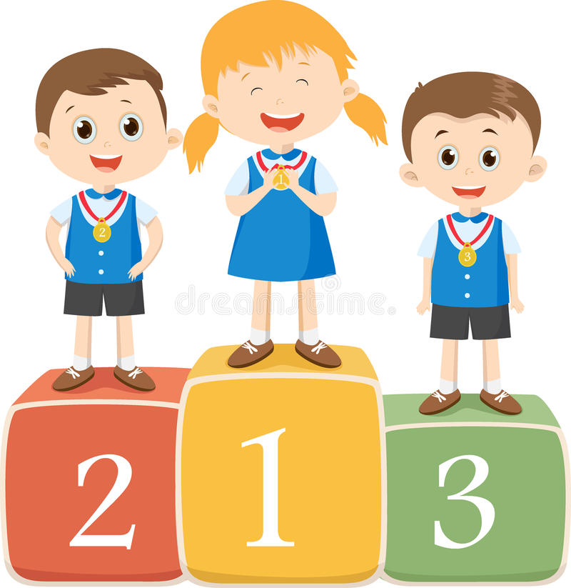 Niños felices que se colocan en el podio del ganador libre illustration