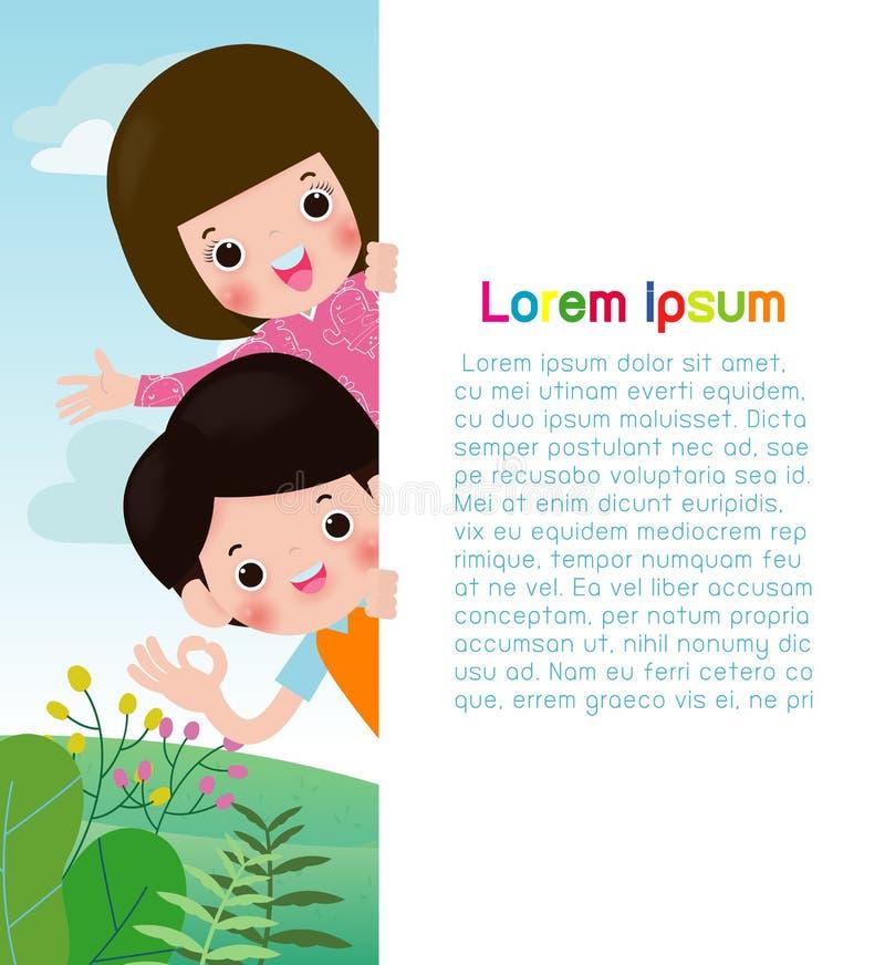 Niños felices que sostienen el cartel en blanco de las muestras Modelo para el folleto de publicidad Aliste para su mensaje Espac libre illustration