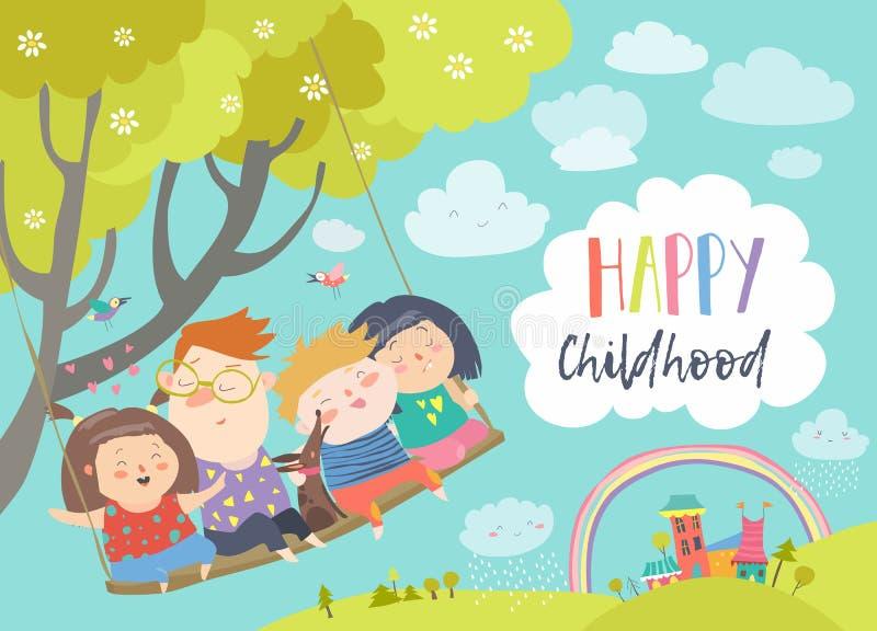 Niños felices que vuelan en un oscilación ilustración del vector