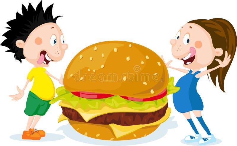 Niños gordos con vector plano del diseño de la historieta de la hamburguesa ilustración del vector