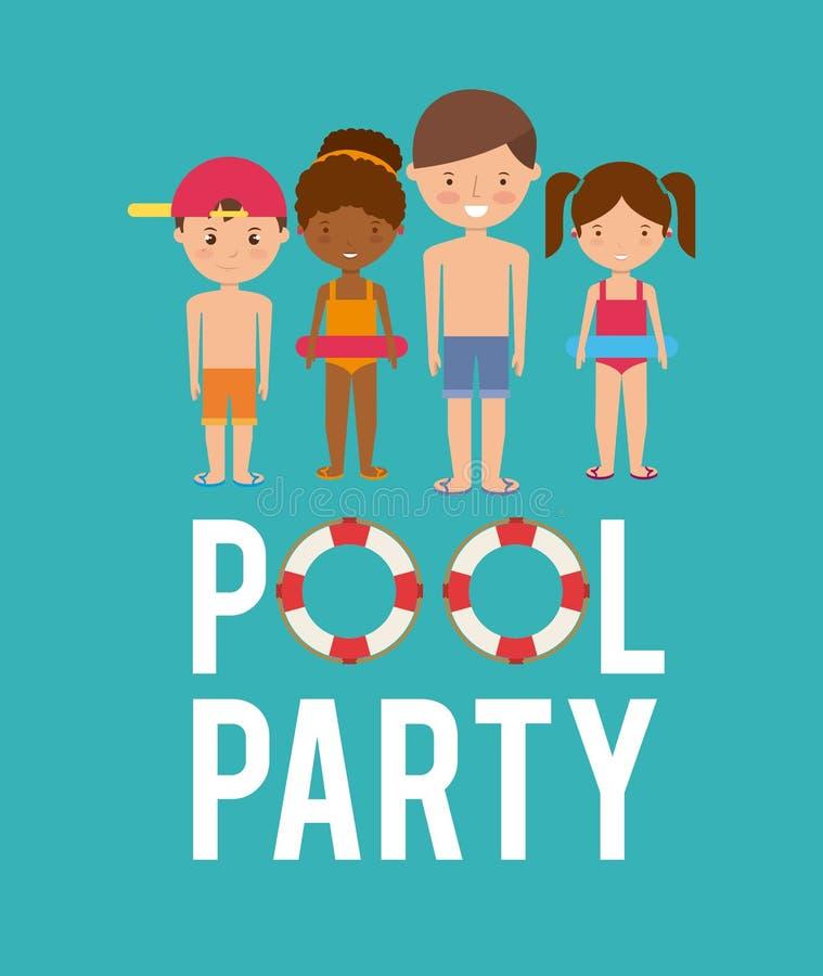 niños historieta e icono del flotador Diseño de la natación y de la fiesta en la piscina stock de ilustración