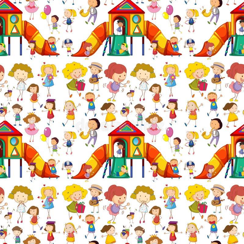 Niños inconsútiles que juegan y que se divierten libre illustration