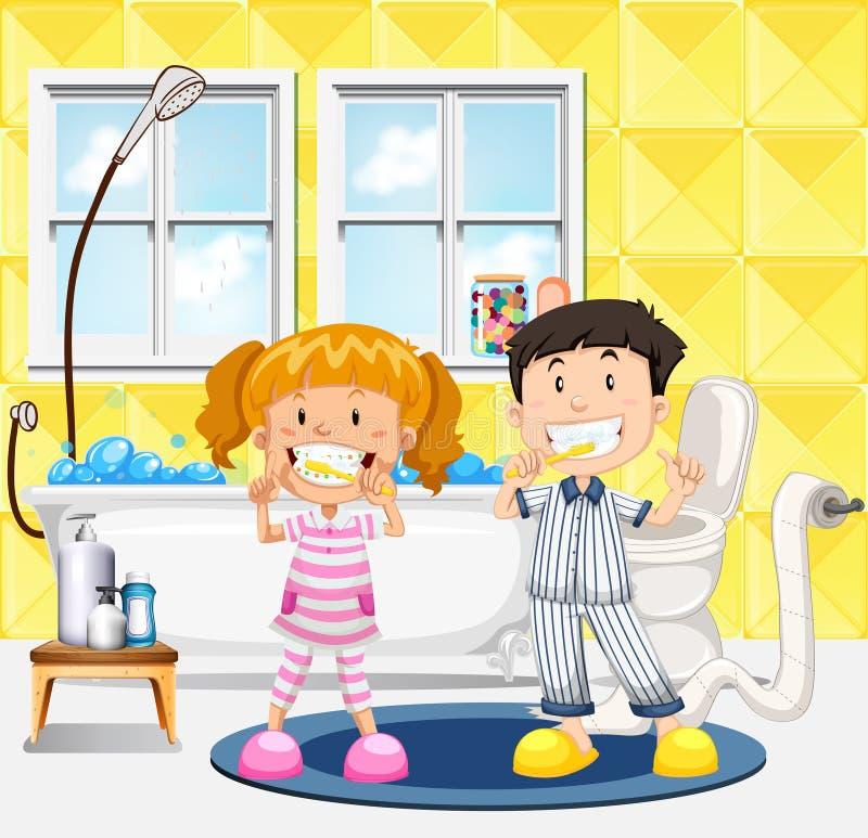 Niños jovenes que cepillan su escena de los dientes ilustración del vector