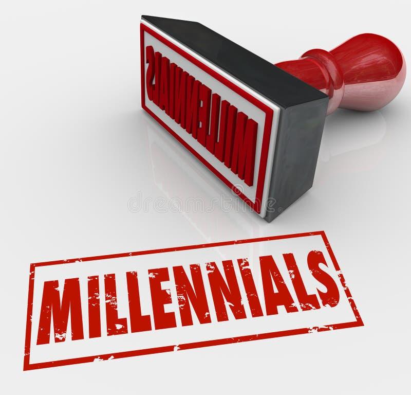 Niños jovenes sellados palabra de la generación X Y del estilo del Grunge de Millennials ilustración del vector