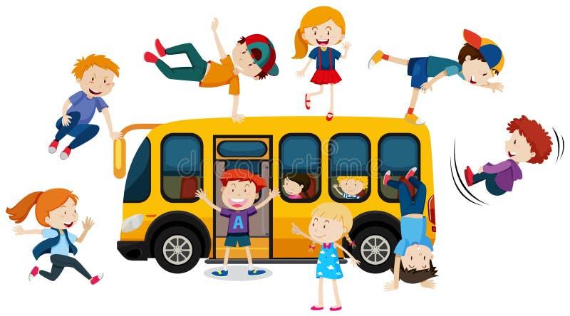 Niños jovenes y autobús escolar ilustración del vector
