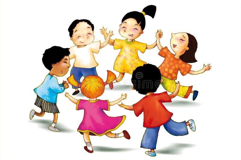 Niños junto stock de ilustración