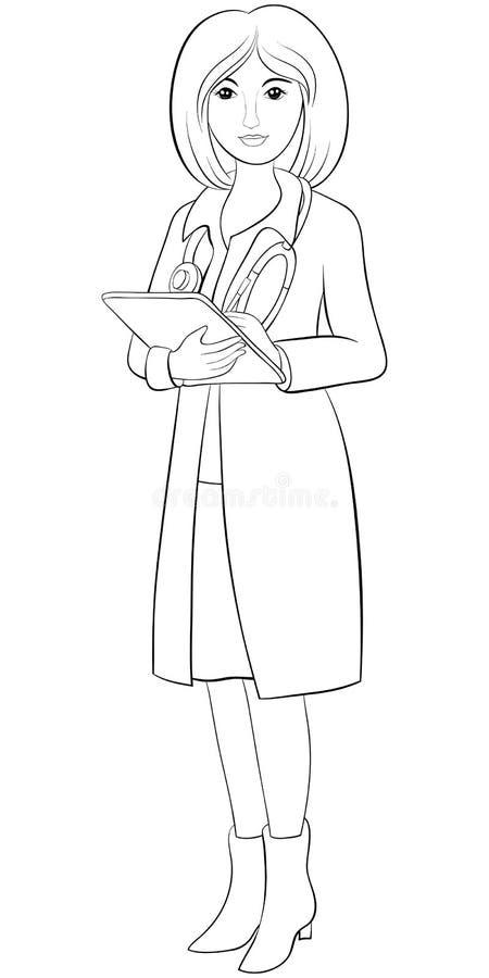 Personaje De Dibujos Animados Doctor Libro De Colorear