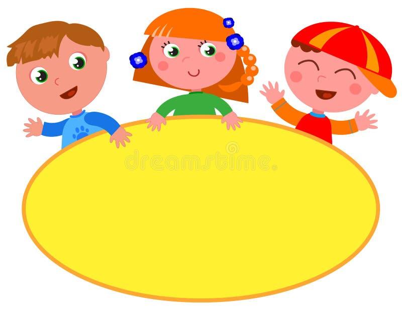 Niños lindos con la muestra amarilla en blanco libre illustration