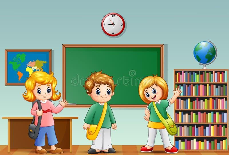 Niños lindos de la escuela de la historieta en una sala de clase stock de ilustración