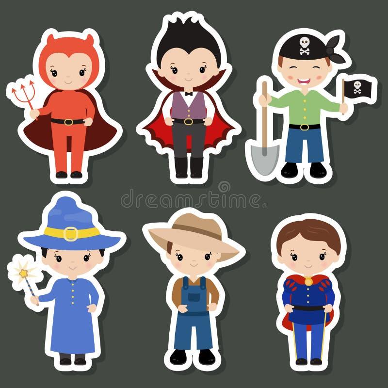 Niños lindos de la historieta en disfraces de Halloween coloridos stock de ilustración