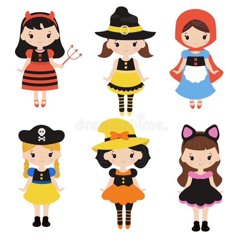Niños lindos de la historieta en disfraces de Halloween coloridos ilustración del vector