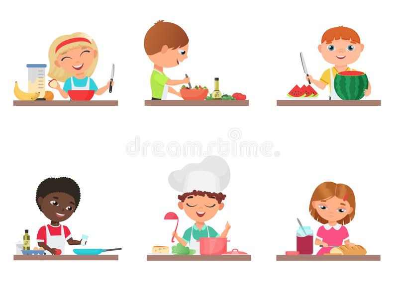 Niños lindos de la historieta que preparan la comida en el ejemplo aislado sistema del vector de la cocina ilustración del vector