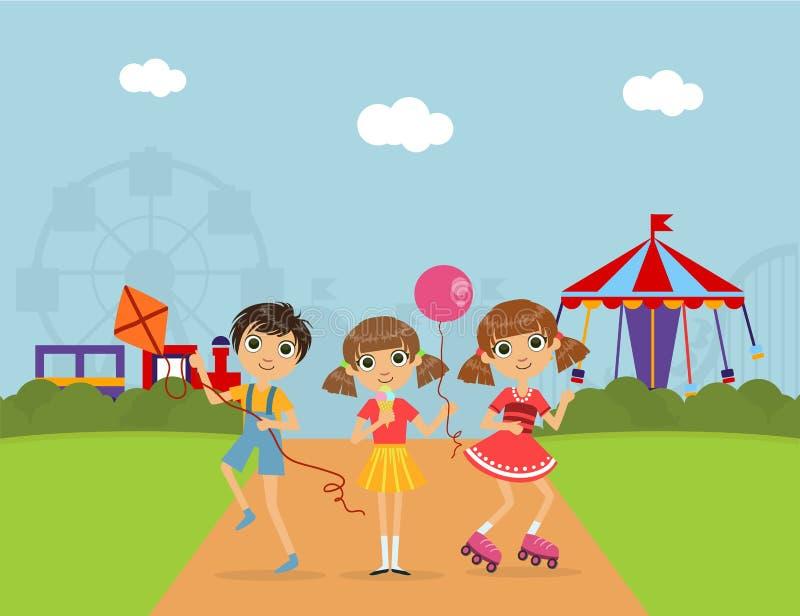 Niños lindos en el parque de atracciones, paisaje del verano con los carruseles y Ferris Wheel Vector Illustration ilustración del vector