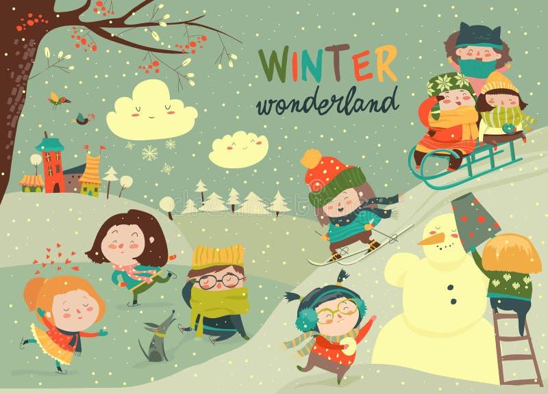 Niños lindos felices que juegan a juegos del invierno Hola invierno libre illustration