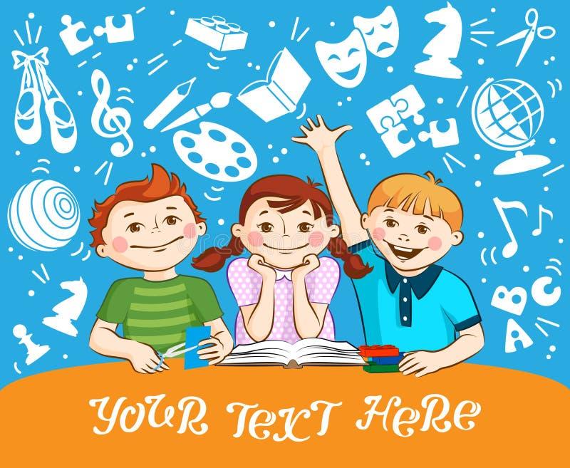 Niños lindos que juegan con los bloques, lectura, corte del papel ilustración del vector