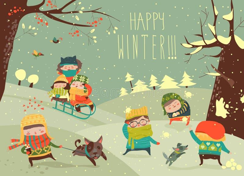 Niños lindos que juegan a juegos del invierno stock de ilustración
