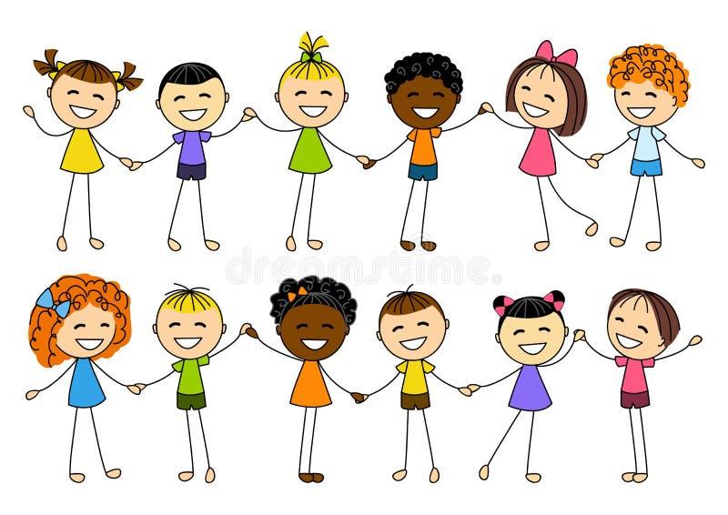 Niños lindos que llevan a cabo las manos stock de ilustración