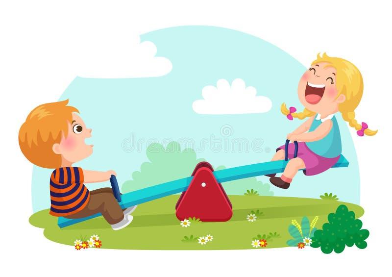 Niños lindos que se divierten en la oscilación en el patio stock de ilustración