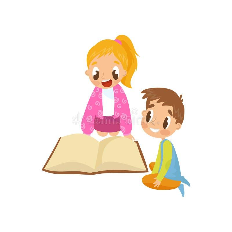 Niños lindos que se sientan en el piso y que leen un libro, ejemplo temprano del vector del concepto del desarrollo en un blanco stock de ilustración