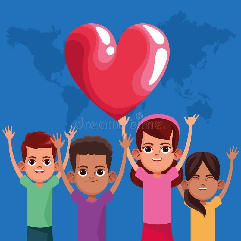 Niños lindos que sonríen con los brazos para arriba ilustración del vector