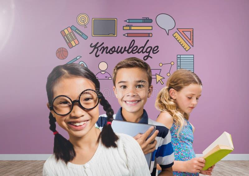 Niños listos con el fondo en blanco del sitio con los gráficos del conocimiento libre illustration