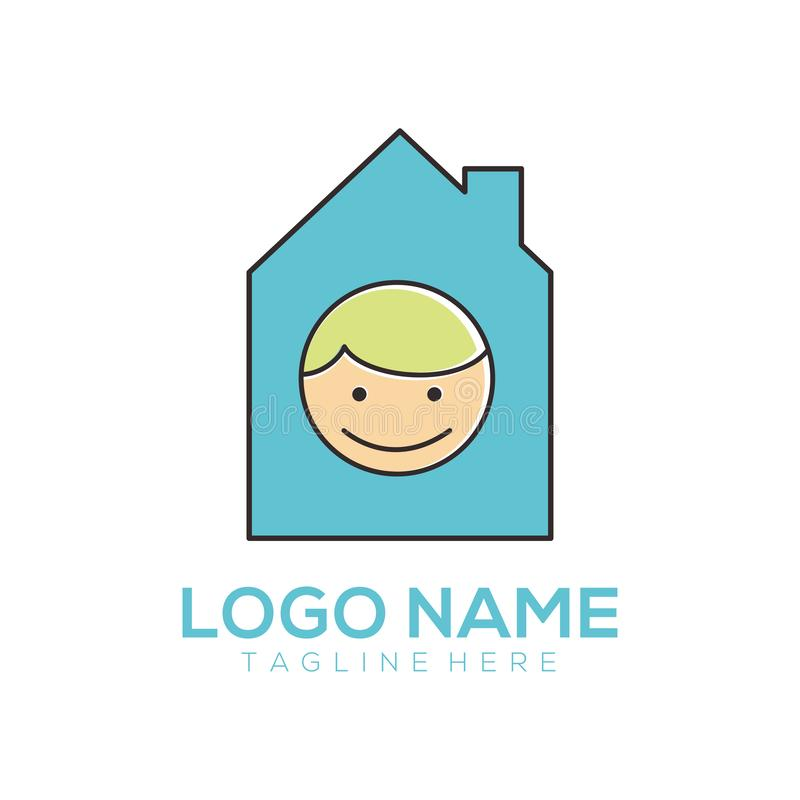 Niños logotipo y diseño del icono libre illustration