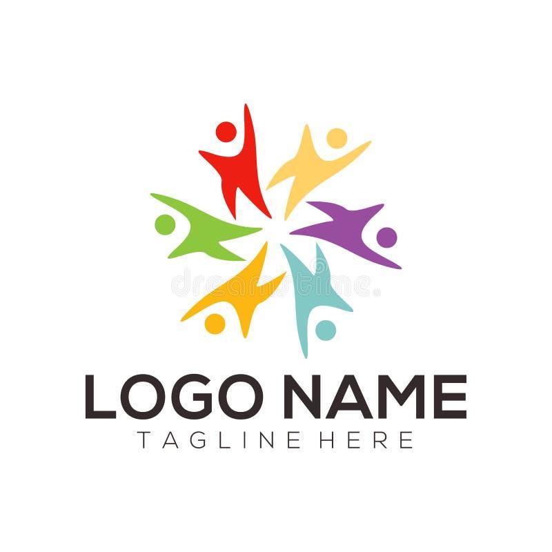 Niños logotipo y diseño del icono stock de ilustración