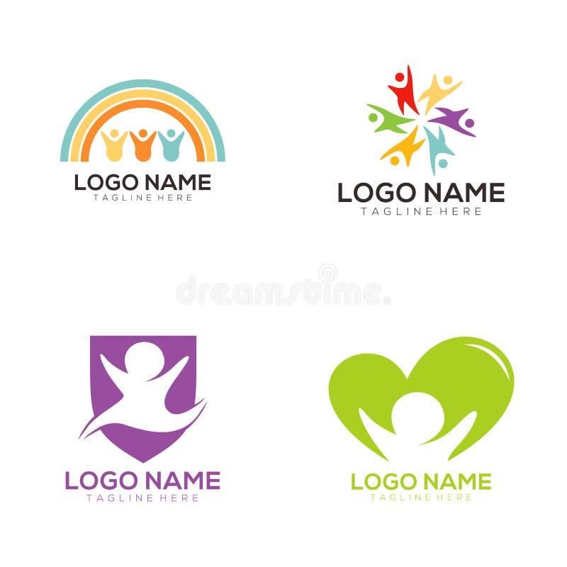Niños logotipo y diseño del icono ilustración del vector