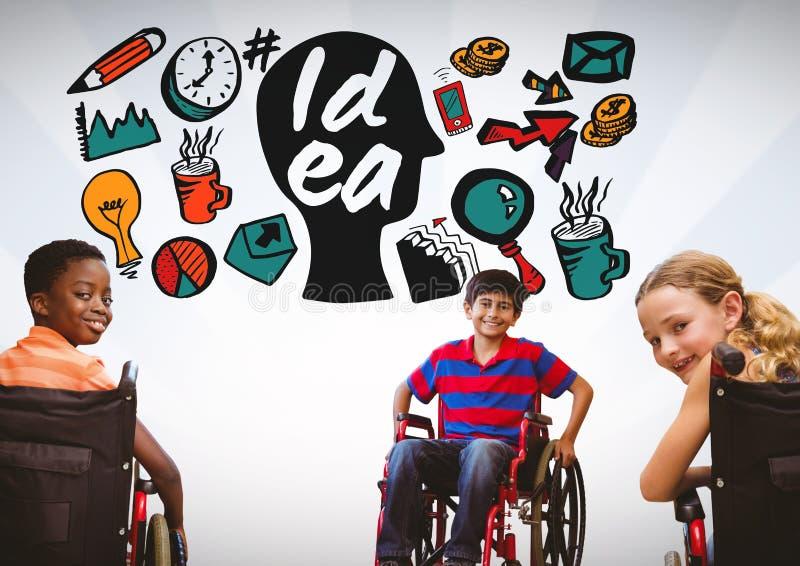 Niños minusválidos en silla de ruedas con los gráficos coloridos de la idea imágenes de archivo libres de regalías