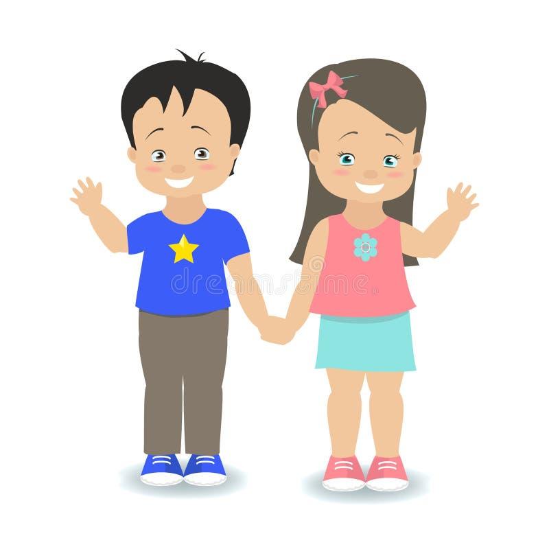 Niños Muchacho y muchacha que celebran las manos y la sonrisa Vector ilustración del vector