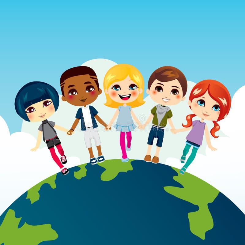 Niños Multi-ethnic felices stock de ilustración