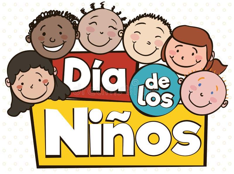 Niños multiculturales que celebran día del ` s de los niños con el saludo español, ejemplo del vector stock de ilustración