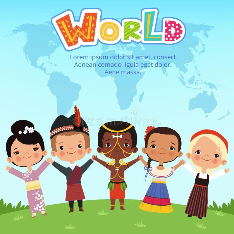 Niños mundiales de diversas nacionalidades que se colocan en la tierra Ejemplos del vector del concepto libre illustration