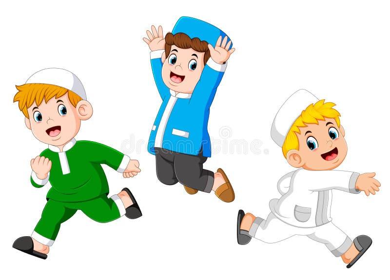 Niños musulmanes felices stock de ilustración