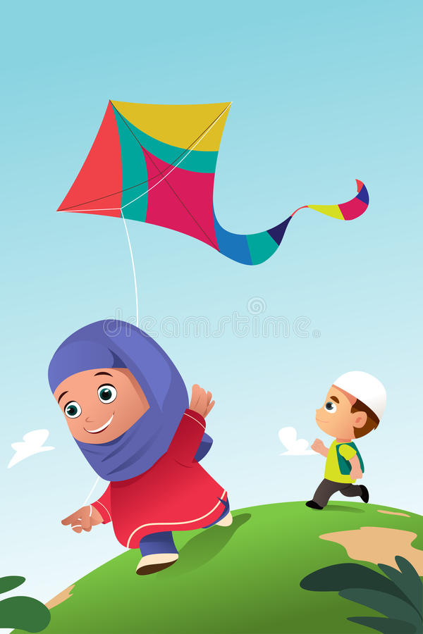 Niños musulmanes que juegan la cometa al aire libre libre illustration