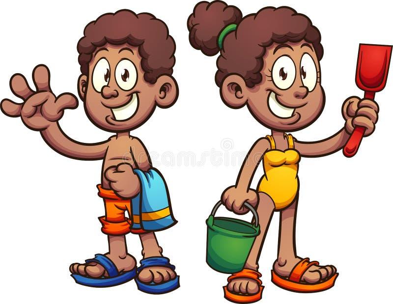 Niños negros de la historieta con los trajes de baño ilustración del vector