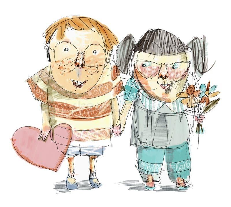 Niños Nerdy chistosos Valentine Illustration ilustración del vector