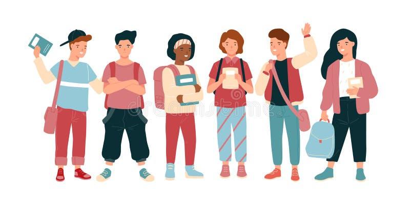 Niños o alumno alegres divertidos aislados en el fondo blanco Escolares y muchachas o adolescentes felices, compañeros de clase o stock de ilustración