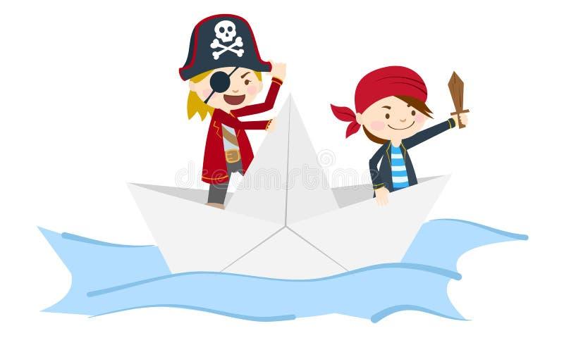 Niños piratas de papel barco navegando en el mar cruz y huesos cruzados ilustración del vector