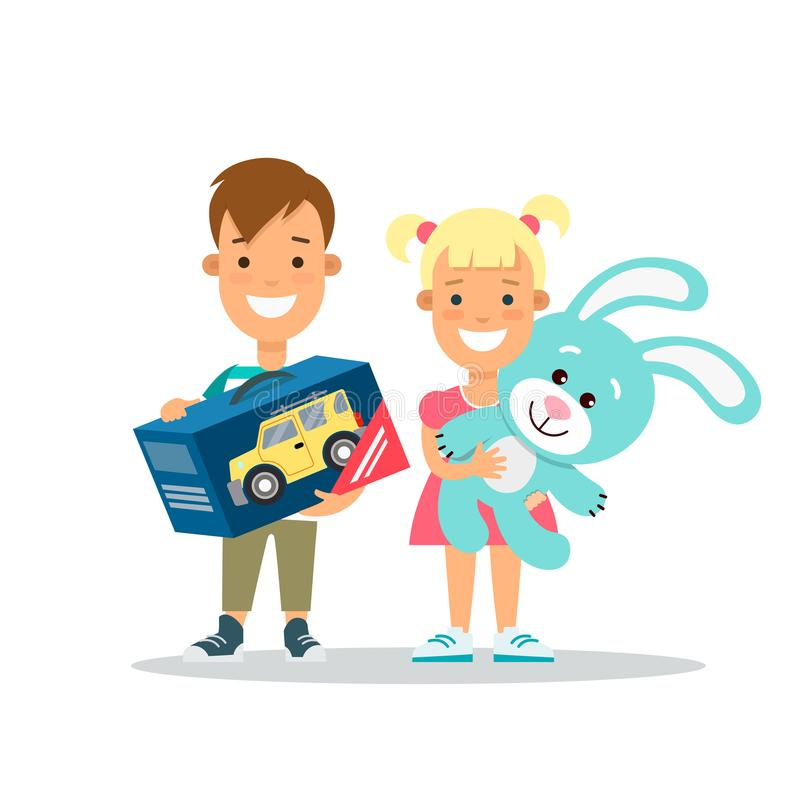 Niños planos de la familia con los regalos de los juguetes Paren stock de ilustración