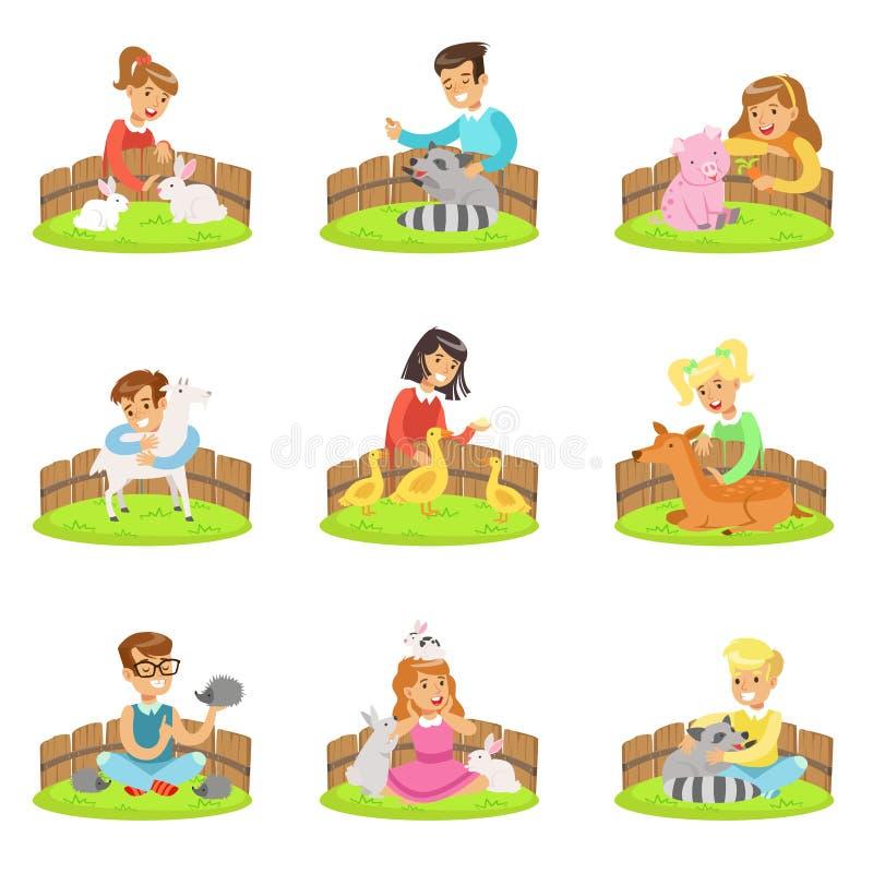 Niños que acarician los pequeños animales en el sistema del zoo-granja de ejemplos de la historieta con los niños que se divierte stock de ilustración