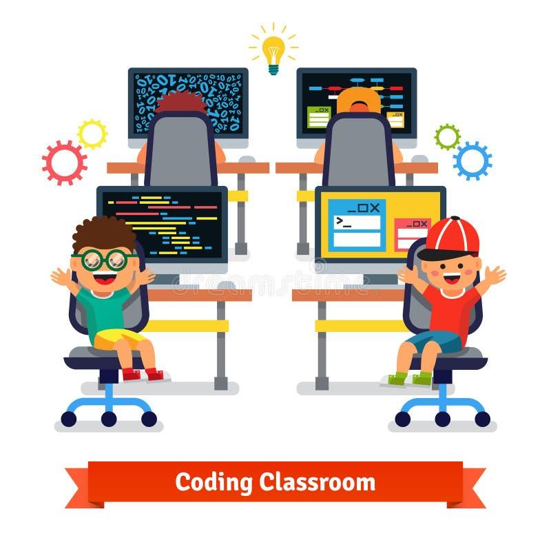 Niños que aprenden cifrar y programar en clase de la ciencia foto de archivo