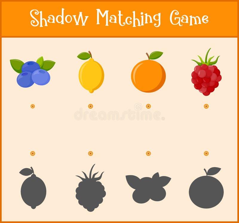 Niños que aprenden el juego, sombra que hace juego el juego, vector stock de ilustración