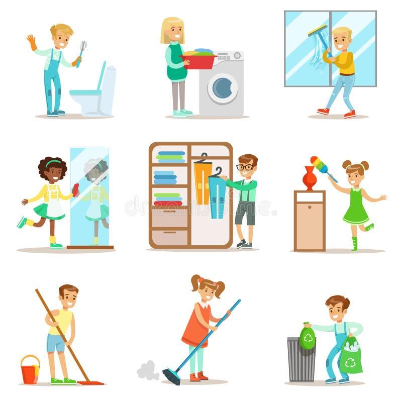 Niños que ayudan con la limpieza casera, lavando el piso, lanzando hacia fuera la basura, Windows que se lava y el espejo ilustración del vector