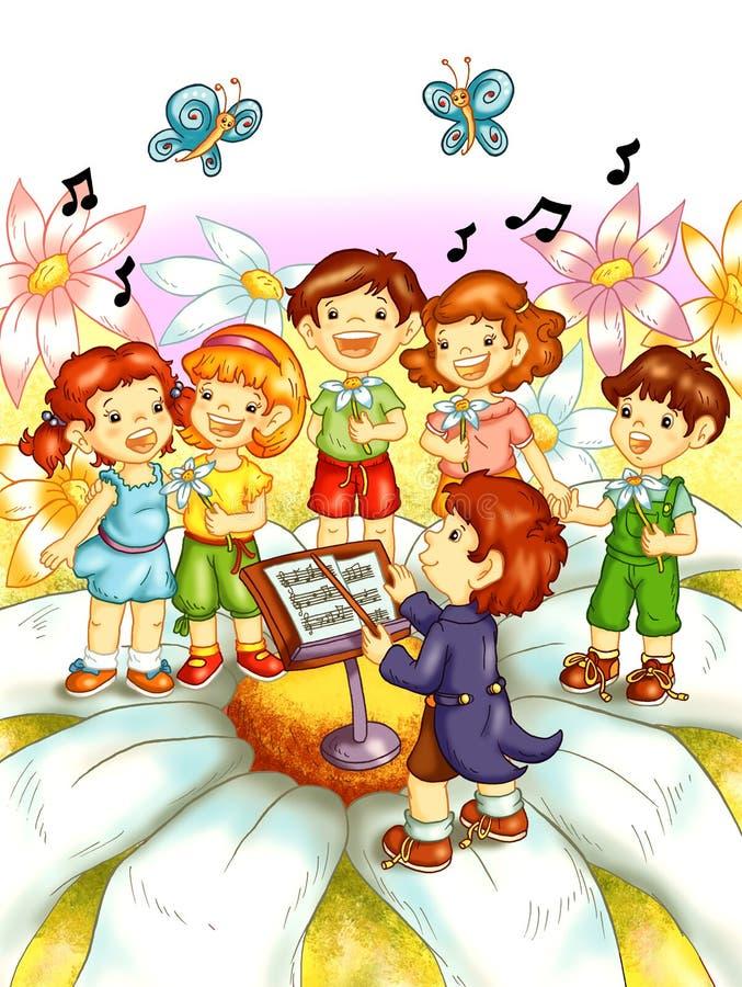 Niños que cantan stock de ilustración