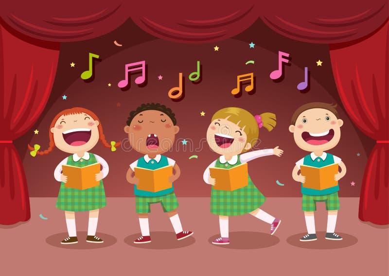 Niños que cantan en la etapa stock de ilustración