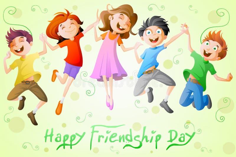 Niños que celebran día de la amistad libre illustration