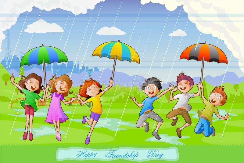 Niños que celebran día de la amistad stock de ilustración