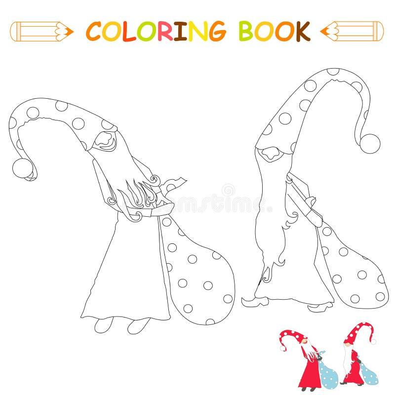 Niños que colorean el ejemplo del vector de la página, gnomos de hadas de las historietas en monocromo y la versión del color ilustración del vector